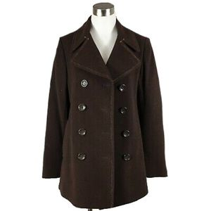 DKNY Brown Wool Pea Coat Mid Length Jacket